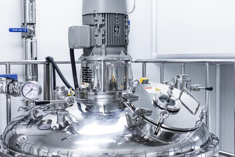 Photo production, clean room with stainless steel hardware royalty free stock images