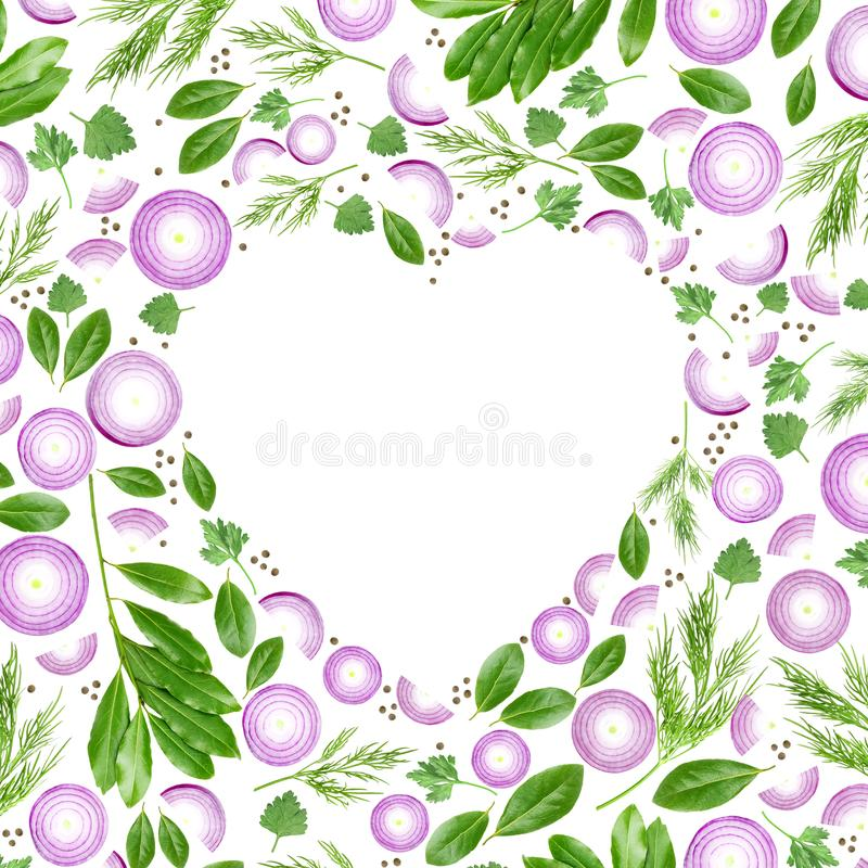 A photo of purple sliced onion, dill, parsley and laurel leaves. An overhead food photo of heart made from spices and vegetables i. Solated on white background vector illustration