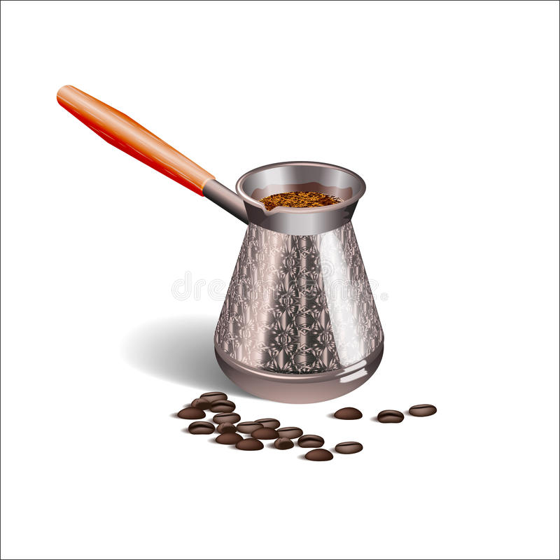 Photo réaliste d'une tasse de café, de Turcs et de grains de café sur le fond blanc illustration libre de droits