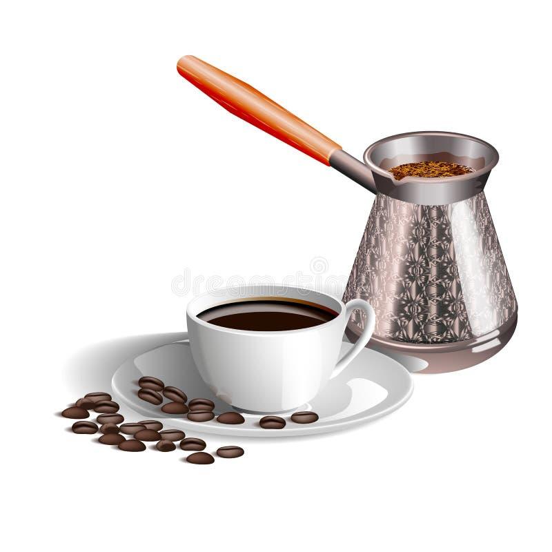 Photo réaliste d'une tasse de café, de Turcs et de grains de café sur le fond blanc illustration stock