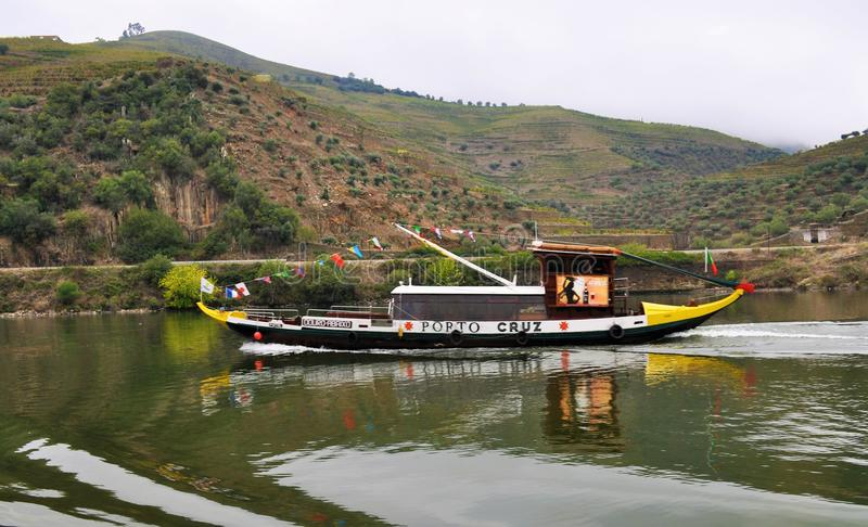 Rabelo boat at Douro river stock photos