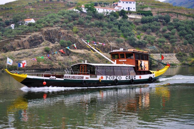 Rabelo boat sailing at Douro river royalty free stock image