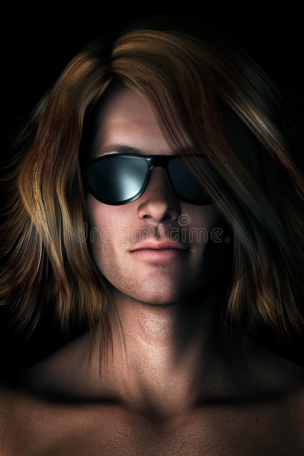 Photo-realistic Illustration of Man in Sunglasses. Photo-realistic, digital illustration of cool guy with long messy hair wearing sunglasses vector illustration