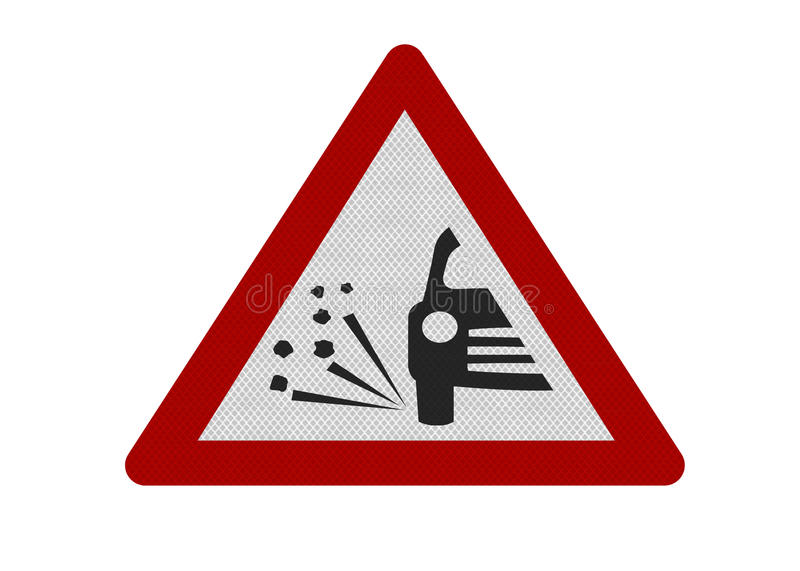 Photo realistic 'loose chippings' warning sign vector illustration