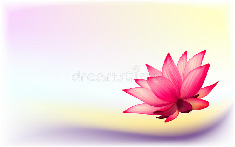 Photo-realistic lotus flower. Vector photo-realistic lotus flower on abstract background stock illustration