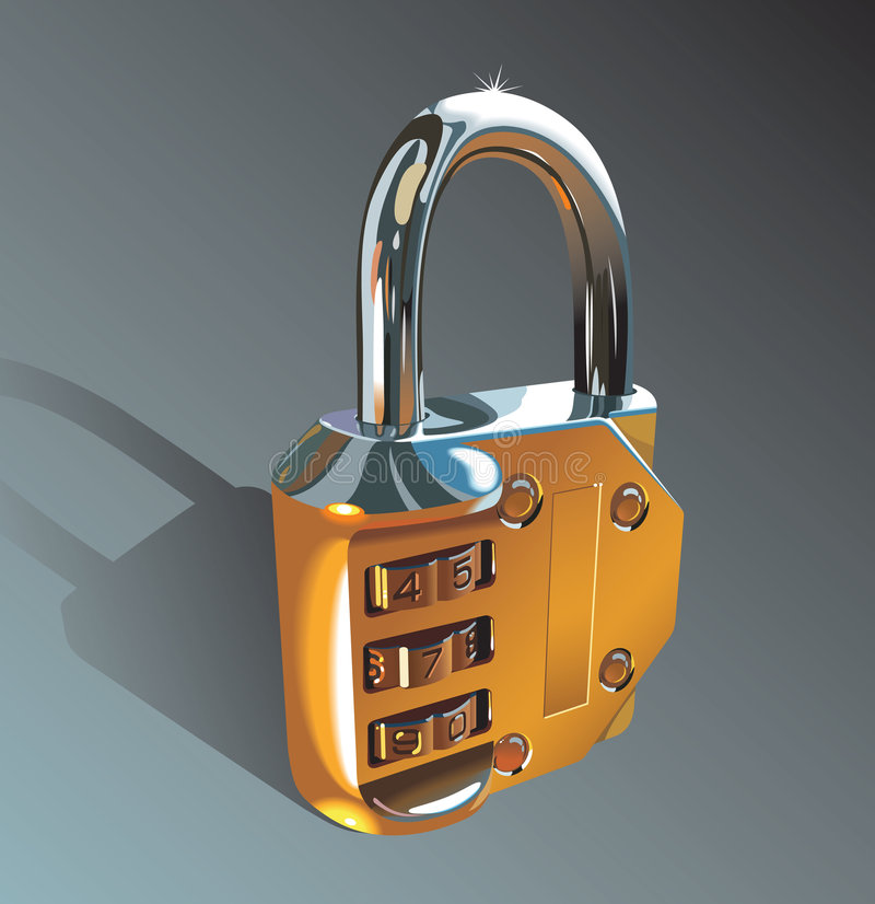 Photo-realistic padlock. Padlock, shining metal, photo-realistic vector illustration stock illustration