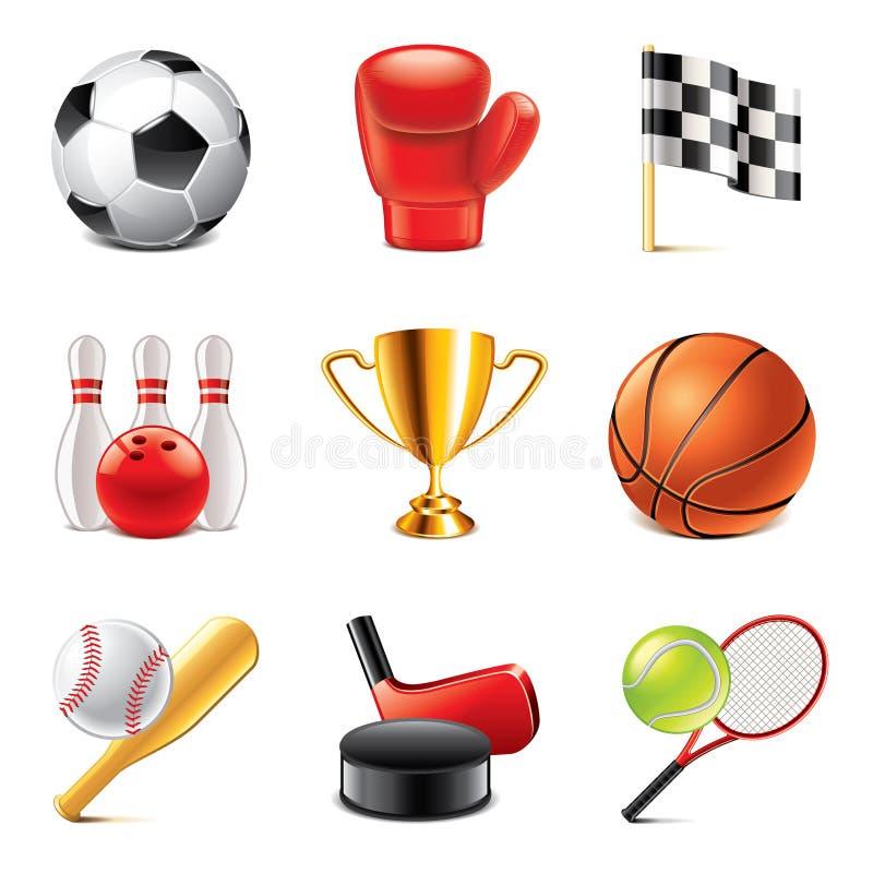 Photo-realistic vectorreeks van sportpictogrammen stock illustratie