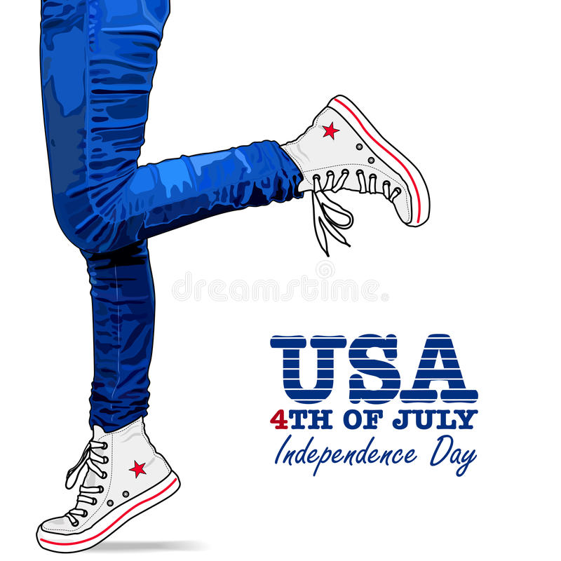 Photo realistic woman legs. USA style. Photo realistic woman legs in jeans and shoes. Patriotic isolated clothes on white background. 4th Of July Vector vector illustration