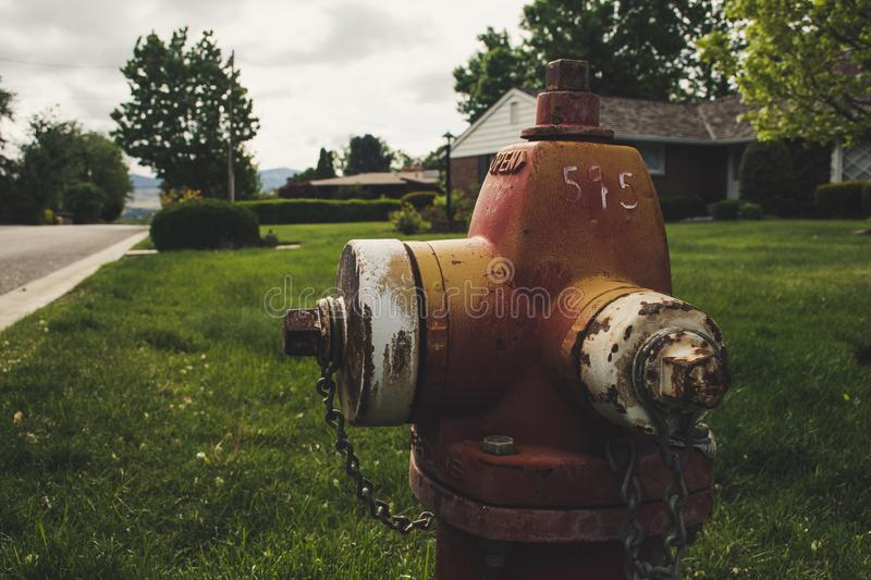 Photo of Red Fire Hydrant royalty free stock image