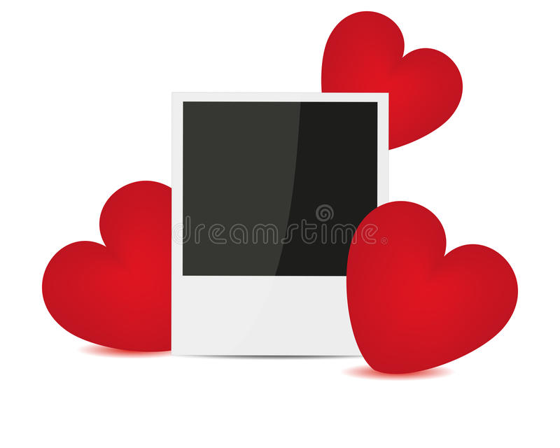 Photo and red hearts stock illustration