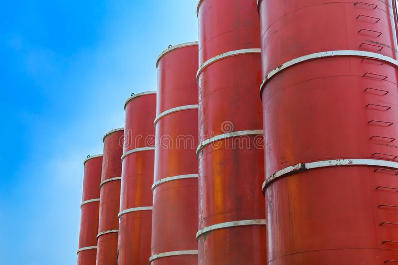 Red pillars at construction site. Photo of red pillars at construction site royalty free stock photography