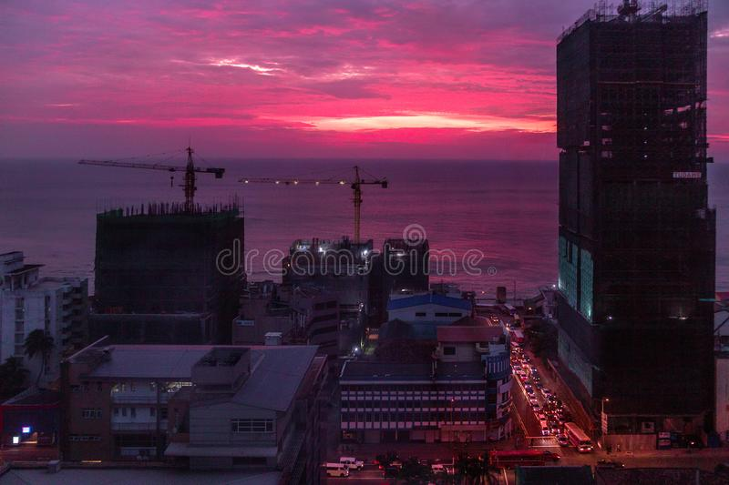 Red-purple sunset in Colombo, Sri Lanka royalty free stock image