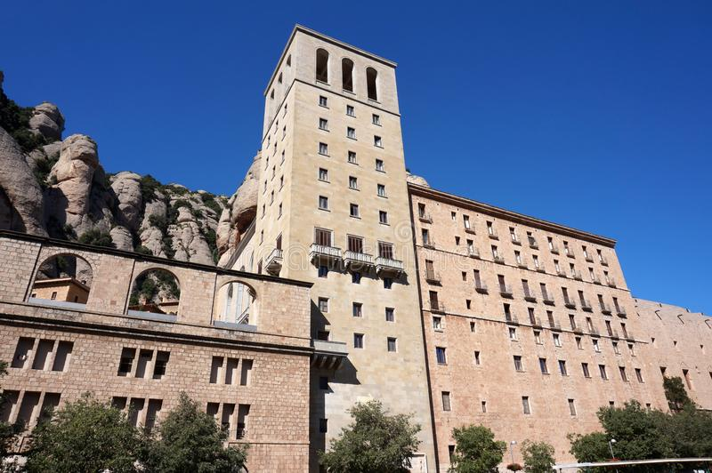 Bue Sky and Religious Buildings in the Montserrat Mountains stock photography