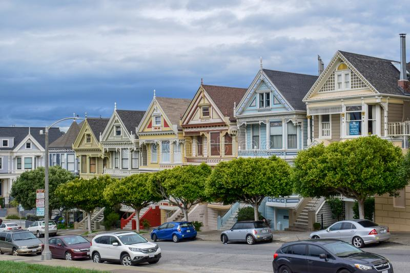 Beautiful Painted Ladies in Alamo Square, San Francisco royalty free stock photography