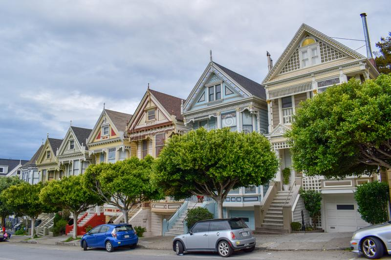 Beautiful Painted Ladies in Alamo Square, San Francisco royalty free stock images