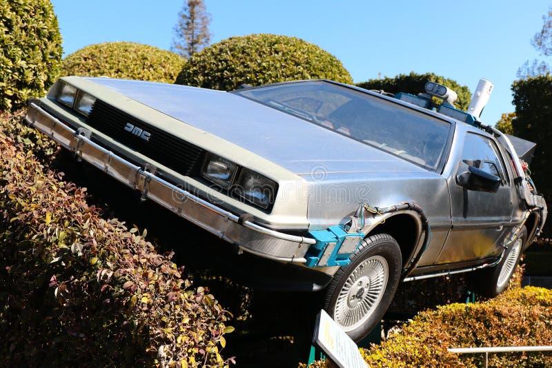 "Use ""Ready Player One"" movie. Photo of replica car of ""De Lorean"" royalty free stock photos"