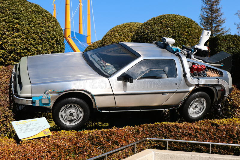 """Use """"Ready Player One"""" movie. Photo of replica car of """"De Lorean"""" royalty free stock images"""