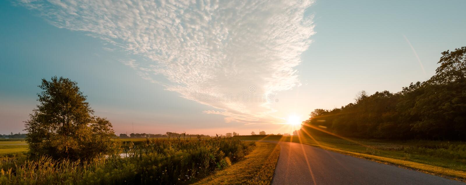 Photo of Road during Sunrise stock images