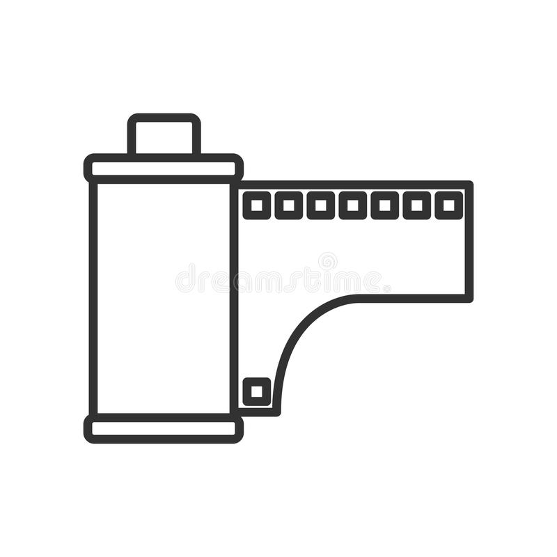 Photo Roll or Film Outline Flat Icon on White vector illustration