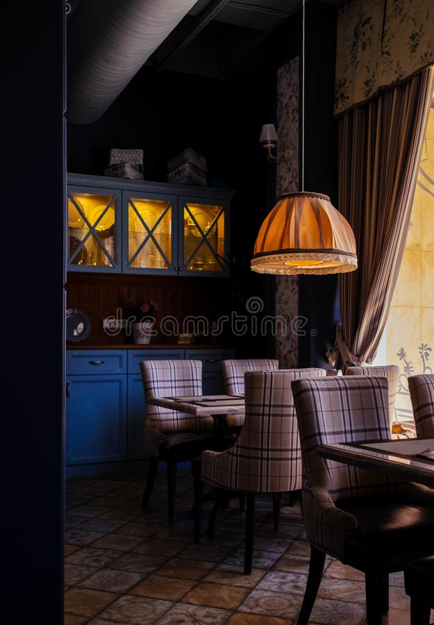 Photo of Room With Orange Pendant Lamp stock images