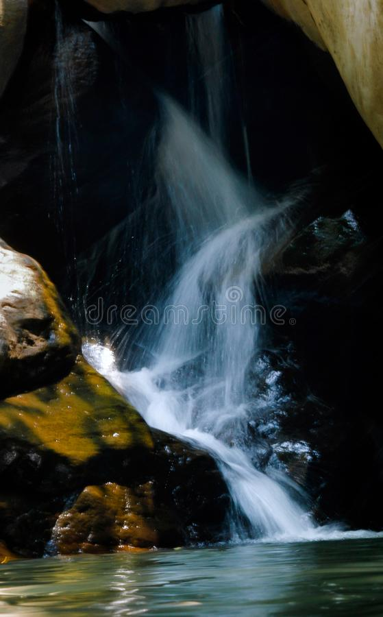 Photo of Running Water Between Brown Rocks stock photo