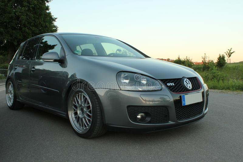 Photo`s of a Volkswagen Golf 5 and Volkswagen Golf 6 GTI. German cars show. Photo shoot with vehicles royalty free stock photo