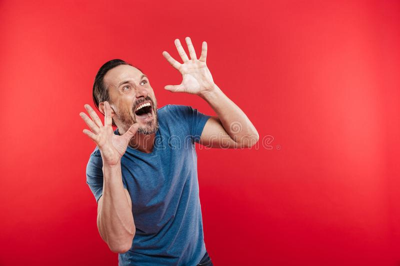 Photo of scared man with beard and mustache shouting and gesturing with hands while looking upward on copyspace, isolated over re. Photo of scared man with beard stock photos