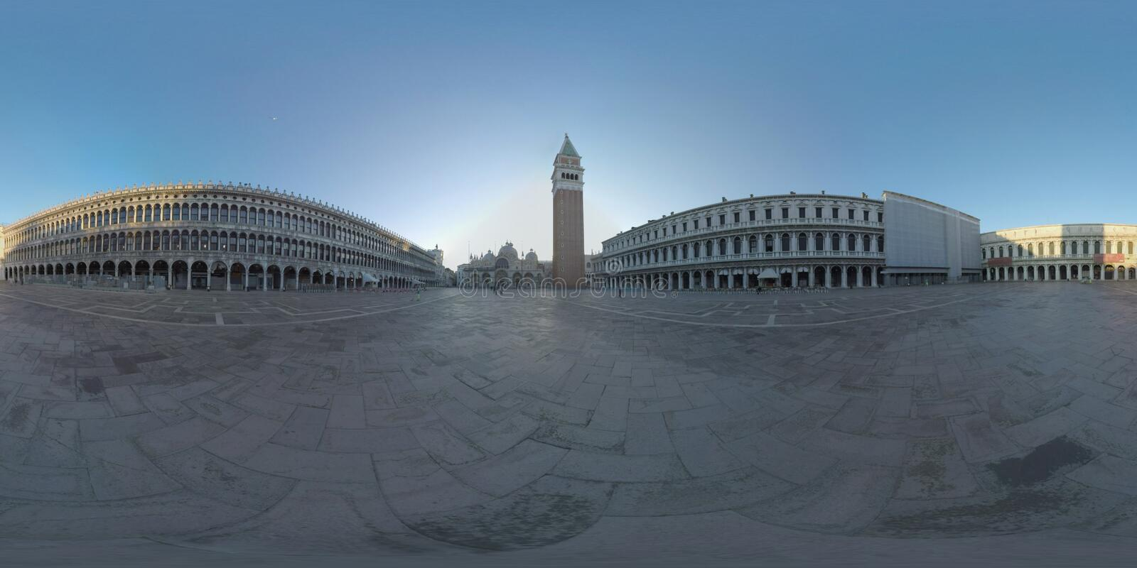 360 VR Piazza San Marco with Basilica and Campanile. Morning view, Venice stock photography