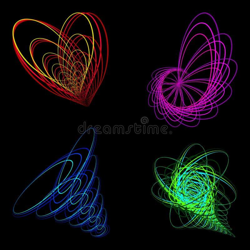 Photo schématique du coeur d'une fleur et d'un entonnoir de tornade illustration de vecteur