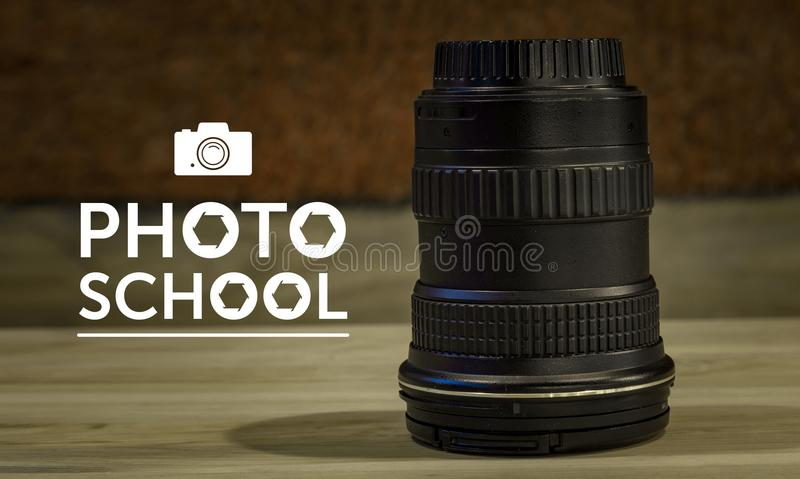 Photo School text, logo, art for design. Work stock images