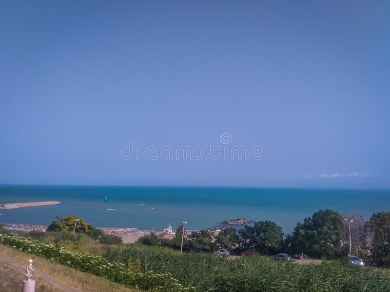 Sea in horizont. Photo of sea in the horizont in Bulgaria in summer season stock photo