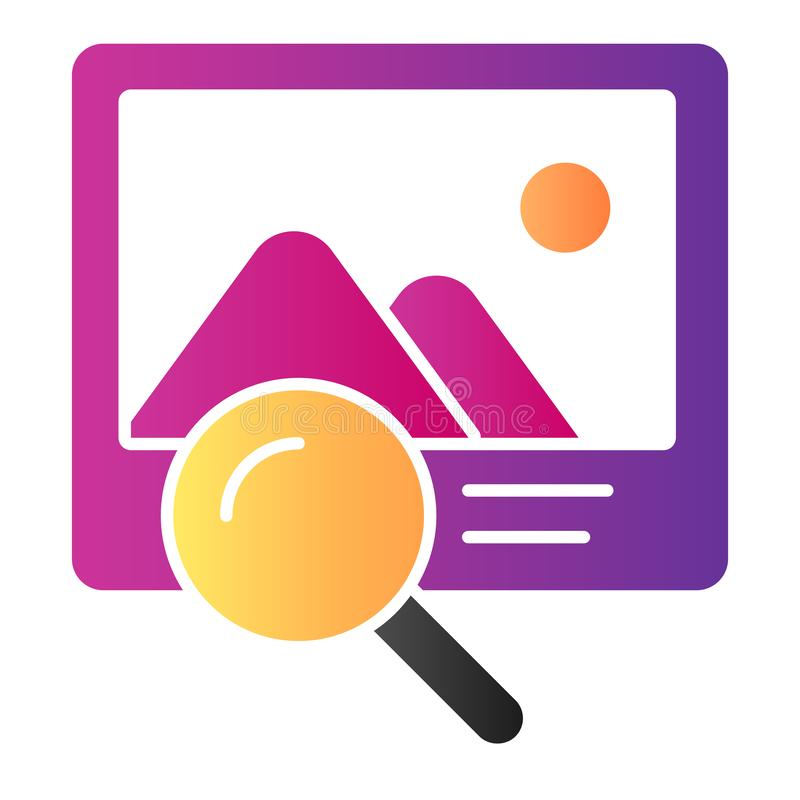 Photo search flat icon. Picture and lens color icons in trendy flat style. Magnifier and image gradient style design. Designed for web and app. Eps 10 stock illustration