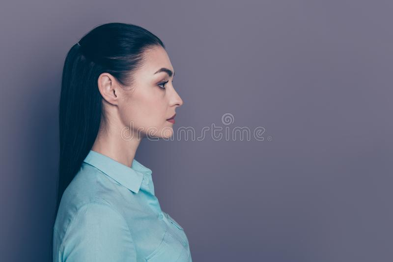 Photo of serious confident boss contemplating incomes decreasing wearing formally  over grey color background. Photo of serious confident boss contemplating stock photography