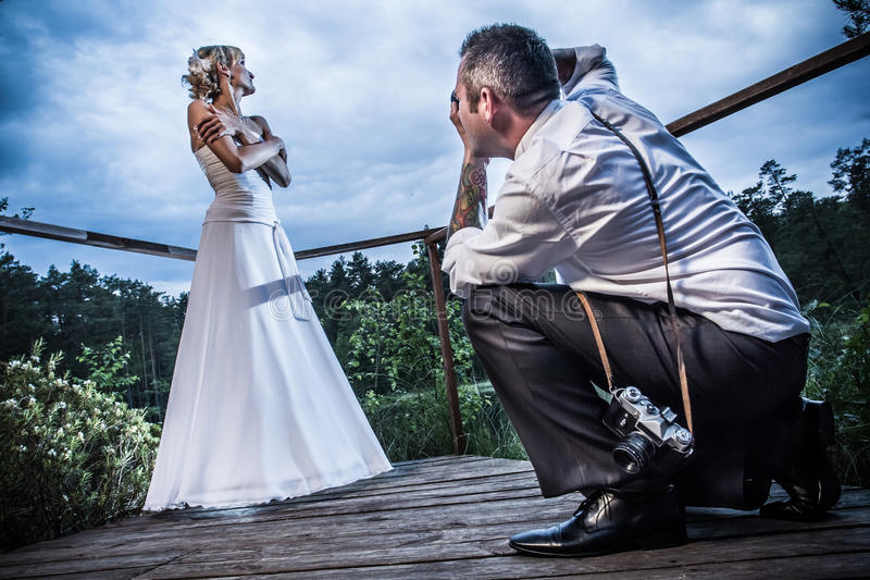 Photo session with the groom and bride royalty free stock image