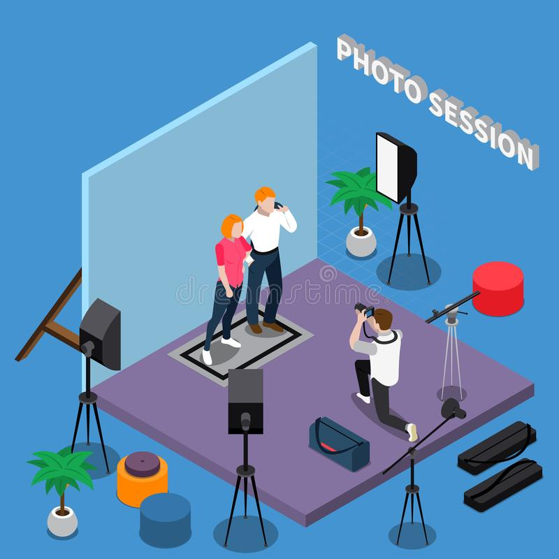 Photo Session Isometric Composition. With posing models, photographer during shooting, professional equipment on blue background vector illustration vector illustration