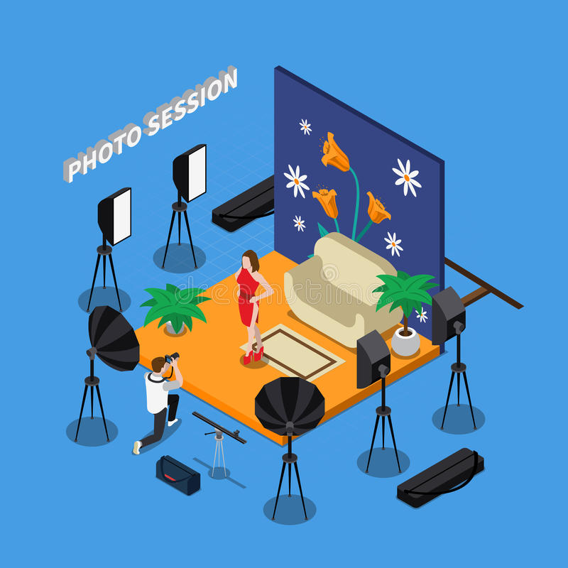 Photo Session Isometric Design. Including man with camera and girl model in studio with spotlights vector illustration vector illustration