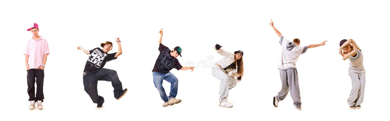 Photo set of new style dancers stock images