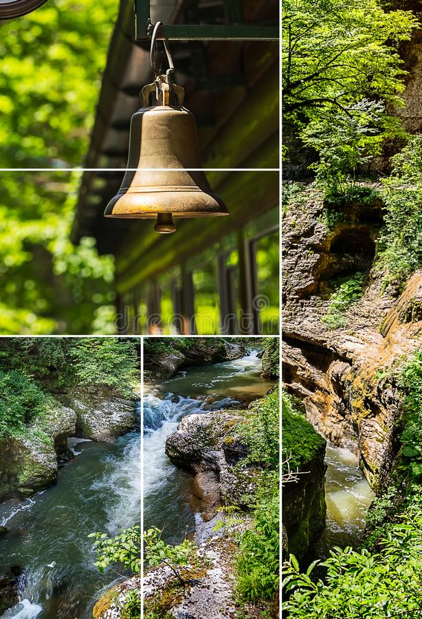 Photo set of various nature landscapes in summer royalty free stock photography