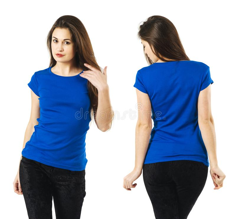 Download Lady Wearing Blank Blue Shirt Stock Photo - Image of shirt, hair: 110660876