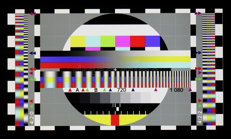 Photo shot of standard industrial color television test sheet royalty free stock images