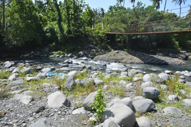 Hanging bridge located at Ruparan river, barangay Ruparan, Digos City, Davao del Sur, Philippines stock image