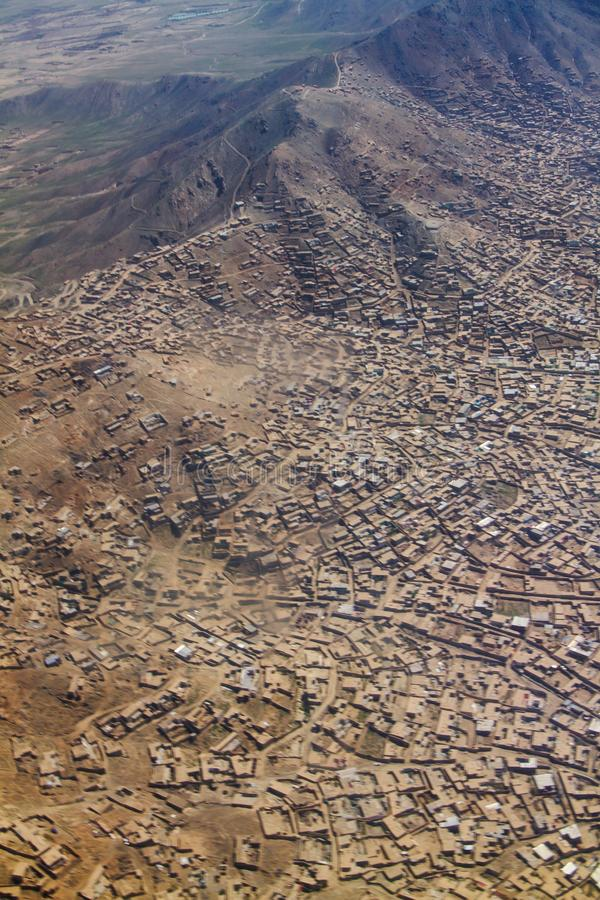 House residential on the hill, valley and mountain area in Kabul, Afghanistan. A photo shows housing residential area in Kabul, Afghanistan. Resident area is stock photography