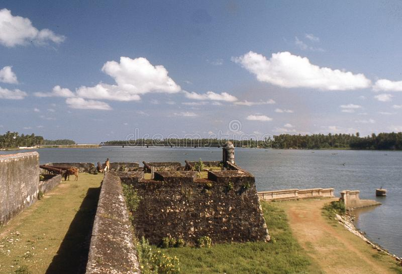 1977. Sri Lanka. Batticaloa Fort and Kallady bridge in the bagground. The Photo shows a small part of Batticaloa fort with the view towards Kallady bridge. The stock photos