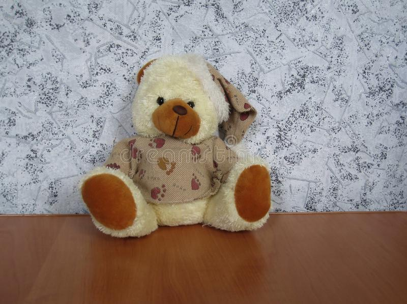 Soft toy bear on the table royalty free stock images