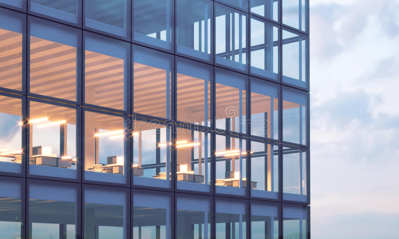 Photo of skyscraper tower.High floor office, interior in evening time. Panoramic windows facade background,contemporary royalty free stock photography