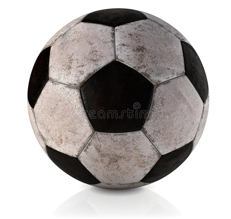 Soccer ball, classic, dirty and used - Classic football ball - Used and dirty classic soccer ball in white background 3D illustrat royalty free stock photo
