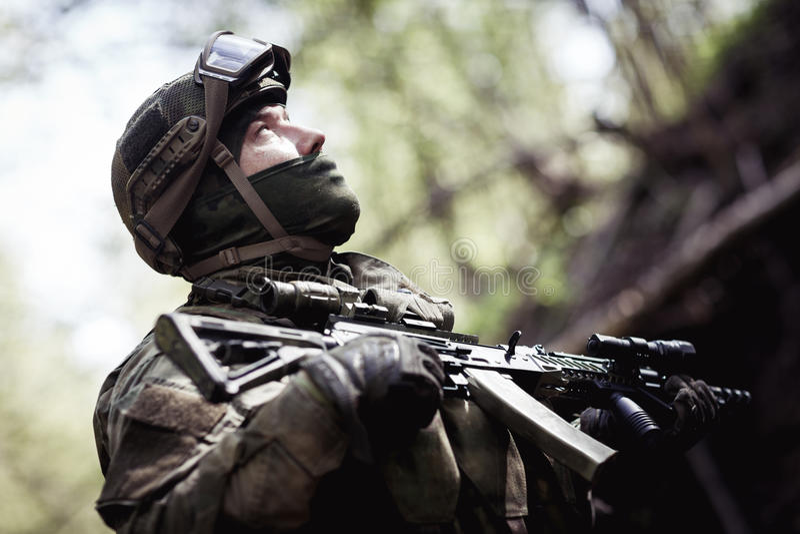 Photo of soldier in helmet stock photos