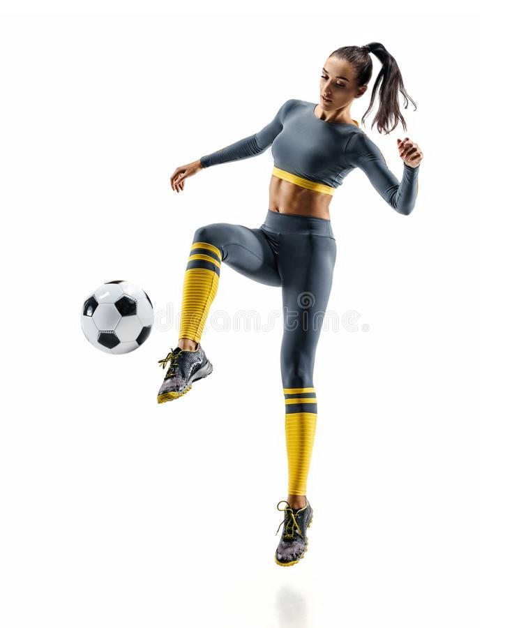 Photo of sporty woman soccer player in sportswear royalty free stock images