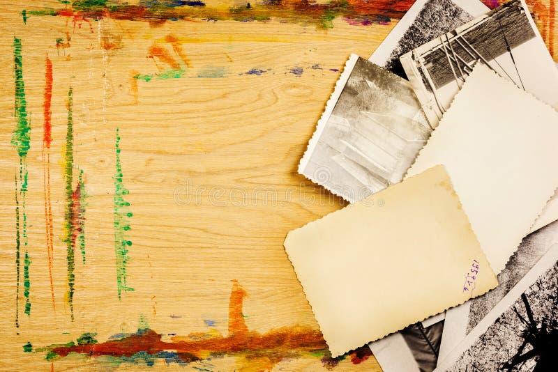 Photo stack on wood stock photos