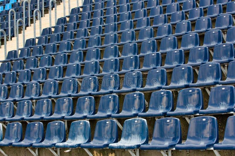 Photo of stadium seats. Full length view of stadium seats royalty free stock photography